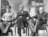 The Tehran Conference was a strategy meeting held between Joseph Stalin, Franklin D. Roosevelt, and Winston Churchill from 28 November to 1 December 1943. It was held in the Soviet Embassy in Tehran, Iran and was the first of the World War II conferences held between all of the 'Big Three' Allied leaders (the Soviet Union, the United States, and the United Kingdom).<br/><br/>  It closely followed the Cairo Conference which had taken place on 22-26 November 1943, and preceded the 1945 Yalta and Potsdam Conferences. Although all three of the leaders present arrived with differing objectives, the main outcome of the Tehran Conference was the commitment to the opening of a second front against Nazi Germany by the Western Allies.<br/><br/>  The conference also addressed relations between the Allies and Turkey and Iran, operations in Yugoslavia and against Japan as well as the envisaged post-war settlement. A separate protocol signed at the conference pledged the Big Three's recognition of Iran's independence.