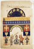 A painting on paper in color and gold leaf from al-Jazari's <i>Kitab fi marifat al-hiyal al-handasiyya</i> (The Book of Knowledge of Ingenious Mechanical Devices).<br/><br/>  Abū al-'Iz Ibn Ismā'īl ibn al-Razāz al-Jazarī (1136–1206) was a polymath: a scholar, inventor, mechanical engineer, craftsman, artist, mathematician and astronomer from Al-Jazira, Mesopotamia, who worked in service of the Artuqid dynasty in Diyarbakır, Asia Minor. He is best known for writing the <i>Kitáb fí ma'rifat al-hiyal al-handasiyya</i> (Book of Knowledge of Ingenious Mechanical Devices) in 1206, where he described fifty mechanical devices along with instructions on how to construct them.