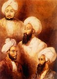 Top to bottom, left to right: Dost Mohammed, Haider Khan, Mohammed Akram Khan and Abdul Ghani Khan, all held captive by the British at Ludhiana, 1840s