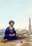 When the British captured Ghazni in July 1839, one of the most important consequences was the capture of its governor, Ghulam Haider Khan, the fourth son of Dost Mohammed. Fearing for his life, Ghulam tried to escape from the city, but was intercepted and eventually received and pardoned by the incumbent Emir, Shah Shuja.<br/><br/>  When Dost Mohammed regained his position in Afghanistan, Ghulam became prime minister of Kabul, succeeding his brother Akbar. In so doing, Ghulam became Dost Mohammed's most likely successor and thus upset his two older brothers who felt they had been sidelined. According to Rattray, he was a large, good-looking and very stout young man who resembled his father. This portrait is a copy of a picture owned by Dowager Lady Keane, rather than a study from life.