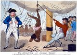 The print shows an alleged incident of an enslaved African girl whipped to death for refusing to dance naked on the deck of the slave ship Recovery, a slaver owned by Bristol merchants. Captain John Kimber stands on the left with a whip in his hand.<br/><br/>  Captain John Kimber was denounced before the House of Commons by William Wilberforce over the incident. In response to outrage by abolitionists, Captain Kimber was brought up on charges before the High Court of Admiralty in June 1792, but acquitted of all charges.