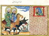 Representations of the Prophet Muhammad are controversial, and generally forbidden in Sunni Islam (especially Hanafiyya, Wahabi, Salafiyya).<br/><br/>  Shia Islam and some other branches of Sunni Islam (Hanbali, Maliki, Shafi'i) are generally more tolerant of such representational images, but even so the Prophet's features are generally veiled or concealed by flames as a mark of deep respect.