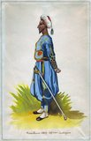 Sometimes referred to in contemporaneous French literature as 'Turcos', this indigenous officer is clearly of Maghribi (Northwest African) origin, probably Algerian or Moroccan.<br/><br/>  Zouave was the title given to certain light infantry regiments in the French Army, normally serving in French North Africa between 1831 and 1962. The name was also adopted during the 19th century by units in other armies, especially volunteer regiments raised for service in the American Civil War. The chief distinguishing characteristics of such units were the zouave uniform, which included short open-fronted jackets, baggy trousers and often sashes and oriental headgear.