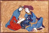 The Safavid artist Afzal al-Husayni, a student of Reza Abbasi, creates a striking composition in which the focus, in vibrant colors, is on two lovers, while the decorative  background is obscured by golden foliage.<br/><br/>  The woman is administering love burn marks on her lover's arm, which during the Safavid era were a sign of a lover's sincerity and devotion.