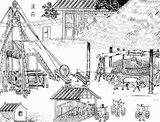 Around 2000 years ago, Chinese in Sichuan province originated deep drilling. The primary motive for deep drilling in China was the search for salt. Even as recently as 1965, 16.5% of China's salt supplies came from brine pumped out of deep boreholes, making this source of supply second only to sea salt.<br/><br/>  The ancient percussive cable drilling system was called 'churn'. The derrick had a height of 11m and all parts of the rig were made from wood (mainly bamboo). A large wooden drum, 5m in diameter, was used to raise and lower the drill. A rocking movement of the balancing beam created the percussive impulses on the bit, which sometimes weighed as much as 140kg. By alternately lifting this tool and letting it fall, the Chinese could achieved a well depth of 600m.<br/><br/>  The deep drilling for brine yielded natural gas (primarily methane) from time to time. The boreholes producing methane were known to the Chinese as 'fire wells', thus drilling for natural gas followed and was developed at the same time.<br/><br/>  Bamboo tubes were used as pipelines, carrying both brine and natural gas for many miles, sometimes passing under roads and sometimes going overhead on trestles. Among other uses, natural gas was used to heat evaporation pans of brine to make salt.