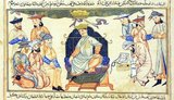 The Seljuq Empire (1037-1194) extended from the Hindu Kush in Pakistan to eastern Anatolia and from Central Asia to the Persian Gulf. After much political and military strife, Berkyaruq ibn Malikshah became the Seljuq sultan in 1093, reigning until 1105. Here he sits on a blue cushion, which is decorated with gold arabesques and placed on an elaborate Chinese-style throne, wearing a Seljuq crown.<br/><br/>  A second crown with ribbons extending from it hangs above his head, an element from Sassanian tradition. Five courtiers are to the left of the Sultan, two kneeling, one sitting and two standing. They exhibit a variety of headwear, including a turban, double-brimmed hats, a beehive hat and the typical Mongol cap. To the right of the sultan, a scribe wearing a turban kneels with his writing materials, which include an Islamic type pen-box, beside him.