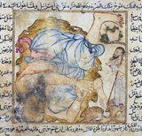 Uj ibn Anaq is a giant, portrayed by some clerics although not mentioned in the Quran. The origins of this character lay in Jewish lore and the Old Testament, e.g. King Og. He takes his 'surname' from his mother Anaq who begat him after an incestuous affair<br/><br/>  Famous and much painted episodes include his fight with the prophet Moses (Musa), and his fishing and frying of whales, while he stands just about knee-deep in the ocean.