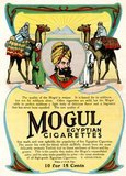 In the early 1900s, manufactures of Turkish and Egyptian cigarettes tripled their sales and became major competitors to leading brands. One of the earlier Turkish tobacco cigarettes, Mogul, was introduced in 1892 by the New York-based Greek tobacconist Soterios Anargyros.<br/><br/>  Though likely made of a Turkish blend, Moguls were advertised as 'Egyptian Cigarettes'. Many of the Mogul advertisements presented high society models in Western apparel, positioning the cigarette as a luxury product, while others incorporated Orientalist motifs or models dressed in Middle Eastern dress.