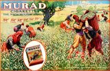In the early 1900s, manufactures of Turkish and Egyptian cigarettes tripled their sales and became major competitors to leading brands. The New York-based Greek tobacconist Soterios Anargyros produced hand-rolled Murad cigarettes, made of pure Turkish tobacco.<br/><br/>  Many of the Murad advertisements  others incorporated Orientalist motifs or models dressed in Middle Eastern dress.
