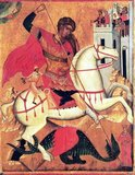 The story of Saint George and the Dragon appended to the hagiography of Saint George was Eastern in origin, brought back with the Crusaders and retold with the courtly appurtenances belonging to the genre of Romance. The earliest known depictions of the motif are from tenth- or eleventh-century Cappadocia and eleventh-century Georgia; previously, in the iconography of Eastern Orthodoxy, George had been depicted as a soldier since at least the seventh century. The earliest known surviving narrative of the dragon episode is an eleventh-century Georgian text.<br/><br/>  The dragon motif was first combined with the already standardised Passio Georgii in Vincent of Beauvais' encyclopedic Speculum Historiale, and then Jacobus de Voragine's Golden Legend (ca 1260) guaranteed its popularity in the later Middle Ages as a literary and pictorial subject. The legend gradually became part of the Christian traditions relating to Saint George and was used in many festivals thereafter.