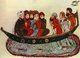 Iraq: A group of Arab men travelling in a boat. A miniature from the 'Maqam' or 'Assembly' illustrated by Yahya ibn Mahmud al-Wasiti, 1237 CE