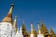 Burma / Myanmar: Shrine roofs and smaller stupas in front of the great Shwedagon Pagoda, Yangon (Rangoon)