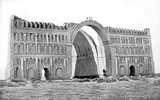 Ctesiphon was the capital city of the Parthian and Sasanian Empires (247 BCE–224 CE and 224–651 CE respectively). It was one of the great cities of late ancient Mesopotamia. Its most conspicuous structure remaining today is the great archway of Ctesiphon.<br/><br/>  It was situated on the eastern bank of the Tigris across from where the Greek city of Seleucia stood and northeast of ancient Babylon. Today, the remains of the city lie in Baghdad Governorate, Iraq, approximately 35 km (22 mi) south of the city of Baghdad.<br/><br/>  Ctesiphon was the largest city in the world from 570 CE, until its fall in 637 CE, during the Muslim conquests.<br/><br/>  The arched <i>iwan</i> hall at Taq Qasra, open on the facade side, was about 37 m high, 26 m across and 50 m long, the largest man-made, free standing vault constructed until modern times.