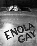 The Enola Gay is a Boeing B-29 Superfortress bomber named for Enola Gay Tibbets, the mother of the pilot, Colonel Paul Tibbets, who selected the aircraft while it was still on the assembly line. On 6 August 1945;, during the final stages of World War II, it became the first aircraft to drop an atomic bomb.<br/><br/>  The bomb, code-named 'Little Boy', was targeted at the city of Hiroshima, Japan, and caused unprecedented destruction. Enola Gay participated in the second atomic attack as the weather reconnaissance aircraft for the primary target of Kokura. Clouds and drifting smoke resulted in Nagasaki being bombed instead.