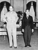 On September 27, 1945, Emperor Hirohito paid a visit to US Army General Douglas MacArthur at the United States Embassy in Tokyo.<br/><br/>  Except for the Emperor's personal translator (he spoke the Imperial Dialect of Japanese, which was difficult for native Japanese to understand) his entourage was politely, but effectively, shut out of the meeting.