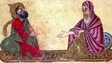 Philosophers from the Middle Ages include the Christian philosophers Augustine of Hippo, Boethius, Anselm, Gilbert of Poitiers, Peter Abelard, Roger Bacon, Bonaventure, Thomas Aquinas, Duns Scotus, William of Ockham and Jean Buridan.<br/><br/>  The Jewish philosophers include Maimonides and Gersonides; and the Muslim philosophers Alkindus, Alfarabi, Alhazen, Avicenna, Algazel, Avempace, Abubacer, Ibn Khaldun, and Averroes.<br/><br/>  Some authorities suggest that one of the figures in this miniature represents Al-Kindi, or Abu Yusuf Yaʻqub ibn Ishaq as-Ṣabbaḥ al-Kindi (c. 801–873 CE), known as 'the Philosopher of the Arabs', a Muslim Arab philosopher, polymath, mathematician, physician and musician. Al-Kindi was the first of the Muslim peripatetic philosophers, and is unanimously hailed as the 'father of Islamic or Arabic philosophy' for his synthesis, adaptation and promotion of Greek and Hellenistic philosophy in the Muslim world.