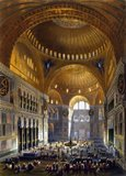 An interior view of the Hagia Sophia in 1852, when it was known as the Ayasofya Mosque. The building was originally constructed as a main Eastern Orthodox church and served in this role from 537 CE until the fall of Constantinople in 1453 (except between 1204 and 1261 when it was converted by the Fourth Crusaders to a Roman Catholic cathedral).<br/><br/>  When the Ottoman Turks under Mehmed II conquered Constantinople, the Hagia Sophia was converted into a mosque and Christian relics and art were either removed or plastered over. It remained a mosque for almost 500 years, before being converted into a museum between 1931 and 1935.<br/><br/>  Famous in particular for its massive dome, it is considered the epitome of Byzantine architecture and influenced the design of numerous mosques in what is now Istanbul.