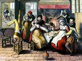 The English 'brothel' comes from the French <i>bordel</i> or 'place of prostitution'.<br/><br/>  Joachim Beuckelaer was born in Antwerp and possibly learned to paint in the workshop of his uncle, Pieter Aertsen, who had married his aunt. Aertsen was best known for his market and kitchen scenes, genres which Beuckelaer continued to paint when he established himself as an independent master in 1560.