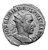 Aemilianus (Latin: Marcus Aemilius Aemilianus Augustus; c. 207/213 – 253 CE), also known as Aemilian, was Roman Emperor for three months in 253 CE.<br/><br/>  Commander of the Moesian troops, he obtained an important victory against the invading Goths and was, for this reason, acclaimed Emperor by his army. He then moved quickly to Italy, where he defeated Emperor Trebonianus Gallus, only to be killed by his own men when another general, Valerian, proclaimed himself Emperor and moved against Aemilian with a larger army.