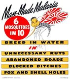 US Navy Bureau of Medicine and Surgery propaganda and health poster from 1944-45, promoting an anti-malarial campaign with the aid of a mosquito with 'Japanese' features and Imperial Japanese Navy wings.