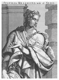 Statilia Messalina (35- after 68 CE) was a Roman patrician woman, empress and third wife to Nero. She was married to consul Marrcus Julius Vestinus Atticus, and became Nero's mistress in 65 CE. After the death of Nero's second wife Poppaea Sabina, possibly at his hands, Vestinus was forced by the emperor to commit suicide so that he could marry Statilia. She was one of the few courtiers to survive the collapse of Nero's reign, dying some time after 68 CE.