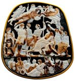 The largest Roman imperial cameo to have survived, the Great Cameo of France is engraved with fwenty-four figures from the Julio-Claudian dynasty.</br/><br/>  The upper levels of the cameo show deceased and/or deified members of the dynasty, such as Divus Augustus (Augustus Caesar), Drusus the Younger (son of Tiberius Caesar) and Drusus the Elder (brother of Tiberius Caesar). The middle tier shows Tiberius Caesar alongside his mother Livia Drusilla (wife of Augustus Caesar) and his designated heir Germanicus. Behind Tiberius and Livius are Claudius Caesar (who was emperor when the cameo was made) and his fourth wife Agrippina the Younger.
