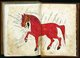 An illustration by Muhammad ibn Yaqub al-Khuttuli (9th century, Iraq or Syria) identifying various parts of the anatomy of a horse.