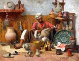 Jean Discart was born in the Italian city of Modena in 1856 and enrolled in a history of painting course at the Vienna Academy of Fine Arts at the age of seventeen.<br/><br/>  Discart first exhibited in the Paris Salon in 1884 and painted Orientalist subjects through to the 1920s, rendering work exquisite in their detail, richness and understanding of light and texture. Discart's compositions incorporated the heavy use of artifacts such as metal ware, pottery, textiles and instruments, set against elaborate backdrops of sculpted stone, painted tiles or carved woodwork.