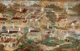 This set of paintings is the oldest and largest extant illustrated biography of Prince Regent Shotoku (574-622). It depicts places and events related to the traditional account of his life, stemming from the veneration of the prince that began in the Nara period (710-794).<br/><br/>  These paintings were originally on fixed doors that adorned the Picture Hall in the East Precinct of Horyu-ji Temple. They were remounted as freestanding screens in the Edo period (1615-1868), and in recent times were again remounted on ten panels.<br/><br/>  Records tell us that Hata no Chitei, an artist from Settsu Province (present-day Osaka Prefecture), painted them during the second to fifth month of Enkyu 1 (1069).
