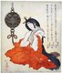 Japan: A Court Lady or <i>kanjo</i> seated with a <i>tsurikoro</i> or hanging incense burner near her head, Totoya Hokkei (1780 - 1850), c. 1825