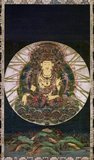 Akasagarbha Bodhisattva (Sanskrit: Chinese: Xukongzang Pusa; Japanese pronunciation: Kokuzo Bosatsu) is a bodhisattva who is associated with the great element (<i>mahabhuta</i>) of space (<i>akasa</i>).<br/><br/>   Akasagarbha is considered one of the eight great bodhisattvas. His name can be translated as 'boundless space treasury' as his wisdom is said to be boundless as space itself.