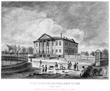 The United States Custom House, sometimes referred to as the New York Custom House, was the place where federal customs duties on imported goods were collected in New York City.<br/><br/>  The custom house existed at several locations over the years. From 1790 to 1799, it was at South William Street, opposite Mill Lane, known as 5 Mill Street. From 1799 to 1815, it was in the Government House, roughly on the former site of Fort Amsterdam. From 1842 it was at 26 Wall Street in a new building designed by John Frazee; that building is now Federal Hall National Memorial. From 1862 it was in the Merchant's Exchange Building at 55 Wall Street. In 1907 it moved into a new building, now called the Alexander Hamilton U.S. Custom House, built on the site where Government House sat earlier, on the south side of Bowling Green.   In 1973 it moved to 6 World Trade Center, which was destroyed in the September 11, 2001 attacks.<br/><br/>