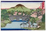 Sadanobu's small landscapes of Kyoto and Osaka were produced very much with the Edo artist Hiroshige in mind. Indeed, he also did miniature copies of some of Hiroshige's most famous designs.<br/><br/>  Kyoto was the capital of Japan from 1180 to 1868, when the capital was moved to Tokyo (previously Edo) at the beginning of the Meiji Era in 1868. Sadanobu's woodblock prints of 'Famous Places in the Capital' was thus produced towards the very end of Kyoto's position as the Japanese capital, and possibly continued into the first year or two of the Meiji Period.