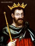 John (24 December 1166 – 19 October 1216), also known as John Lackland (Norman French: Johan sanz Terre), was King of England from 6 April 1199 until his death in 1216. John lost the Duchy of Normandy to King Philip II of France, resulting in the collapse of most of the Angevin Empire and contributing to the subsequent growth in power of the Capetian dynasty during the 13th century.<br/><br/>  The baronial revolt at the end of John's reign led to the sealing of Magna Carta, a document of immense significance considered to be an early step in the evolution of the constitution of the United Kingdom.