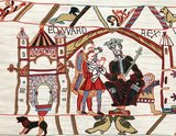 Edward the Confessor(1003 – 5 January 1066), also known as Saint Edward the Confessor, was among the last Anglo-Saxon kings of England, and usually considered the last king of the House of Wessex, ruling from 1042 to 1066.<br/><br/>  Between 1042 and 1052 Edward the Confessor began rebuilding St Peter's Abbey in London to provide himself with a royal burial church. It was the first church in England built in the Romanesque style. The building was not completed until around 1090 but was consecrated on 28 December 1065.<br/><br/>  The only extant depiction of Edward's abbey, together with the adjacent Palace of Westminster, is found in the Bayeux Tapestry.