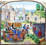 The Peasants' Revolt, also called Wat Tyler's Rebellion or the Great Rising, was a major uprising across large parts of England in 1381. The revolt had various causes, including the socio-economic and political tensions generated by the Black Death in the 1340s, the high taxes resulting from the conflict with France during the Hundred Years' War, and instability within the local leadership of London. The final trigger for the revolt was the intervention of a royal official, John Bampton, in Essex on 30 May 1381. His attempts to collect unpaid poll taxes in Brentwood ended in a violent confrontation, which rapidly spread across the south-east of the country.<br/><br/>  Unrest continued until the intervention of Henry le Despenser, who defeated a rebel army at the Battle of North Walsham on 25 or 26 June. Troubles extended north to York, Beverley and Scarborough, and as far west as Bridgwater in Somerset. Richard II mobilised 4,000 soldiers to restore order. Most of the rebel leaders were tracked down and executed; by November, at least 1,500 rebels had been killed.