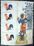 Four roosters, each representing one quarter of the year, with a male <i>yaksa</i> as 'avatar' of the birthplace with a unique waist cloth, a plant and a number diagram determining the lucky and unlucky numbers for people born in the year of the rooster.<br/><br/>  This manuscript was rescued from a burning temple in Rangoon. Phrommachāt, 19th century. British Library, Or.12167, f.21