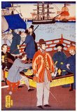 Japanese triptych print shows the interior of a foreign settlement house with several women and men enjoying a tea party, and a view of ships in the harbor in the background, Yokohama, Japan.<br/><br/>  Utagawa Yoshitora was a designer of <i>ukiyo-e</i> Japanese woodblock prints and an illustrator of books and newspapers who was active from about 1850 to about 1880. He was born in Edo (modern Tokyo), but neither his date of birth nor date of death is known. He was the oldest pupil of Utagawa Kuniyoshi who excelled in prints of warriors, kabuki actors, beautiful women, and foreigners (<i>Yokohama-e</i>).