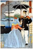 Japanese woodblock print showing a man and a woman standing on the Yokohama docks as a steamboat returns to the pier.<br/><br/>  Utagawa Yoshitora was a designer of <i>ukiyo-e</i> Japanese woodblock prints and an illustrator of books and newspapers who was active from about 1850 to about 1880. He was born in Edo (modern Tokyo), but neither his date of birth nor date of death is known. He was the oldest pupil of Utagawa Kuniyoshi who excelled in prints of warriors, kabuki actors, beautiful women, and foreigners (<i>Yokohama-e</i>).