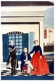 Japanese woodblock print showing the American consul with his wife and a colleague at the American consulate in Tokyo.<br/><br/>  Utagawa Yoshitora was a designer of </>ukiyo-e</i> Japanese woodblock prints and an illustrator of books and newspapers who was active from about 1850 to about 1880. He was born in Edo (modern Tokyo), but neither his date of birth nor date of death is known. He was the oldest pupil of Utagawa Kuniyoshi who excelled in prints of warriors, kabuki actors, beautiful women, and foreigners (<i>Yokohama-e</i>).