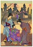 Toyohara Chikanobu (1838-1912), often known by his contemporaries as Yoshu Chikanobu, was a prolific woodblock artist active during the Meiji Era of Japan. He served as a soldier for the Tokugawa loyalists at first, but following the Shogitai's surrender, he was remanded to the Takada domain, and in 1875, he decided to become an artist.<br/><br/>  He soon become renowned as a highly skilled <i>ukiyo-e</i> artist, with his works ranging from Japanese mythology to depictions of the battlefields from the wars of his time to women's fashions and <i>shunga</i> (erotic art). He produced a great many war prints in triptych format, documenting the Satsuma Rebellion, the First Sino-Japanese War and the First Russo-Japanese War, among other conflicts and events.