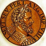 Septimius Severus (145-211 CE) was born in the Roman province of Africa, and advanced steadily through the customary succession of offices (the 'cursus honorum') during the reigns of Marcus Aurelius and Commodus. He was governor of Pannonia Superior when word of Pertniax's murder and Didius Julianus' accession reached him in 193 CE.<br/><br/>  In response to Julianus' controversial accession through buying the emperorship in an auction, many rivals rose up and declared themselves emperor, with Severus being one of them, beginning what was known as the Year of the Five Emperors. Hurrying to Rome, Severus executed Julianus, and then fought his rival claimants for control of the Empire. By 197 CE, he was the sole power in the Empire, and began once more waging war to expand the borders of the Empire.<br/><br/>  Severus fell ill in late 210 CE, fatally so, and died in early 211 CE. He was succeeded by his sons Caracalla and Geta, founding the Severan dynasty, the last dynasty of the Roman Empire before the Crisis of the Third Century.