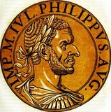 Marcus Julius Philippus (204-249 CE), commonly known as Philip the Arab, was born in the Roman province of Arabia, in what is now Syria. He rose to power during the last years of Emperor Gordian III's reign, due to the machinations of his brother, Gaius Julius Priscus, who was an important member of the Praetorian Guard.<br/><br/>  Gordian III's death in 244 resulted in Philip's accession to the imperial throne. He quickly concluded a peace treaty with Shapur I of Persia, ruler of the Sassanid Empire, and rushed back to Rome to secure his position with the Roman Senate. Rome celebrated its one thousandth birthday under Philip's reign, with massive celebrations and commemorative coins to mark the occasion.<br/><br/>  His frivolous spending, as well as the massive tribute owed to the Sassanids, meant that Philip was severely short of money, something he tried to rectify through much higher levels of taxation as well as ceasing to pay the Germanic tribes north of the Danube to keep the peace along the Empire's frontiers. His excessive taxation and refusal to pay the tribes would come to haunt him later however, as mass revolts and foreign invasions occurred across the Empire. Philip was eventually killed in 249, either from fighting or assassination by his own soldiers.
