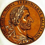 Trebonianus Gallus (206-253) was a respected politician and general in the Roman Empire, and rose to power after the deaths of co-Emperors Trajan Decius and his son Herennius Etruscus during the Battle of Abrittus in 251. Some rumours claim that Gallus had had a hand in the deaths of Decius and his son, having conspired with the Goth invaders.<br/><br/>  His soldiers proclaimed Gallus emperor, but Decius' other son Hostilian had been acknowledged by the people of Rome as rightful heir. Not wishing to start another civil war, Gallus acquiesced to the will of the Roman people and adopted Hostilian as his son, becoming co-emperors together. Hostilian's death to plague barely months into his rule in 251 allowed Gallus to rule alongside his son Volusianus as new co-emperors.<br/><br/>  Like the reign of those before him, Gallus had to contend with revolts and foreign invasions. Aemilianus, governor of the provinces of Moesia Superior and Pannonia, took the initiative and defeated invaders threatening the eastern Roman frontier in 253. He was then proclaimed as emperor by his troops, and marched to Rome to fight for his claim, defeating Gallus and Volusianus in battle, who were subsequently killed by their own troops in August 253.