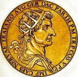 Marcus Ulpius Traianus, Trajan, was born in the province of Hispania Baetica in 53 CE, to a non-patrician family. He rose to prominence during Domitian's reign, and fought in numerous campaigns. He was adopted as Nerva's heir and successor in 97 CE, the emperor compelled to do so by the Praetorian Guard. Trajan became emperor in 98 after his predecessor's death.<br/><br/>  Trajan is considered one of the greatest emperors of the Roman Empire, with the senate officially declaring him 'optimus princeps', or 'best ruler'. He was a highly successful soldier-emperor who led the greatest military expansion in Roman history, with the empire reaching its maximum territorial extent under his rule. He was also known for his philanthropic rule and extensive building programmes, reshaping Rome and leaving numerous landmarks behind.<br/><br/>  His beneficent and prosperous reign earned him an enduring reputation that has survived throughout the centuries, and he has been deified as the second of the 'Five Good Emperors'. He died of a stroke in 117 after almost 20 years of rule, and was succeeded by his adopted heir Hadrian.