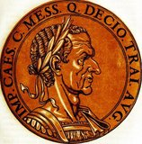 Trajan Decius (201-251 CE) was a distinguished senator and governor in the Roman Empire. When revolts and uprisings began occurring throughout the Empire in the last years of Philip the Arab's reign, Decius was sent to quell a revolt in the Balkan provinces of Moesia and Pannonia. After defeating the revolt, Decius was proclaimed Emperor by his troops, and he fought against and killed Philip in 249 CE, entering Rome and being recognised as Emperor by the Roman Senate.<br/><br/>  As Emperor, Decius focused on defeating external threats to the Empire, as well as restoring public piety and strengthening the State religion, which involved the persecution of Christians as well as an Imperial edict declaring all citizens make a sacrifice for the Emperor and Empire every year on a certain day.<br/><br/>  A renewed incursion by the Goths forced Decius to march and confront them in battle, alongside his son and co-emperor, Herennius Etruscus. During the decisive Battle of Abritus, Etruscus was killed early on by an arrow, and Decius was himself later killed on the field of battle, when his entire army was entangled and annihilated in a swamp. Decius and his son were the first two Roman Emperors to be officially recorded dying in battle against a foreign enemy, with Gordian III's manner of death still debated.