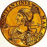 Constantine I (272-337), also known as Constantine the Great and Saint Constantine, was the son of Emperor Constantius. His father sent him east to serve under Emperors Diocletian and Galerius, spending some time in the court of the latter. After his father died in 306 CE, Constantine was proclaimed his successor and emperor by his army at Eboracum (York).<br/><br/>  He at first remained officially neutral in the efforts of Emperor Galerius to defeat the usurper Maxentius, but after Galerius' death, Constantine was dragged into the conflict. He eventually defeated Maxentius in 312 CE, and then fought against his erstwhile ally, Emperor Licinius, for sole control of both western and eastern portions of the Roman Empire. Licinius was defeated in 324 CE, and Constantine became emperor of a united empire.<br/><br/>  Constantine enacted many reforms strengthening the empire, ending the tetrarchy system and restructuring government. He became the first emperor to claim conversion to Christianity, and he called the First Council of Nicaea in 325 CE, overseeing the profession of the Nicene Creed. He renamed Byzantium to Constantinople after himself, which would become the new capital. He died in 337 CE.