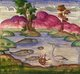 Persia / Iran: Detail from the illuminated manuscript 'The Lights of Canopus' (<i>Anwar-i Suhayli</i>) depicting a fish pond, by Mirza Rahim, 19th century, Iran