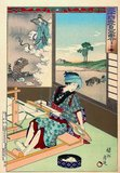 Toyohara Chikanobu, better known to his contemporaries as Yōshū Chikanobu, was a prolific woodblock artist of Japan's Meiji period. His works capture the transition from the age of the samurai to Meiji modernity.<br/><br/>  In 1875 (Meiji 8), he decided to try to make a living as an artist. He travelled to Tokyo. He found work as an artist for the Kaishin Shimbun. In addition, he produced <i>nishiki-e</i> artworks. In his younger days, he had studied the Kanō school of painting; but his interest was drawn to <i>ukiyo-e</i>.<br/><br/>  Like many <i>ukiyo-e</i> artists, Chikanobu turned his attention towards a great variety of subjects. His work ranged from Japanese mythology to depictions of the battlefields of his lifetime to women's fashions. As well as a number of the other artists of this period, he too portrayed kabuki actors in character, and is well-known for his impressions of the <i>mie</i> (formal pose) of kabuki productions.<br/><br/>  Chikanobu was known as a master of <i>bijinga</i>, images of beautiful women, and for illustrating changes in women's fashion, including both traditional and Western clothing. His work illustrated the changes in coiffures and make-up across time. For example, in Chikanobu's images in Mirror of Ages (1897), the hair styles of the Tenmei era, 1781-1789 are distinguished from those of the Keio era, 1865-1867.